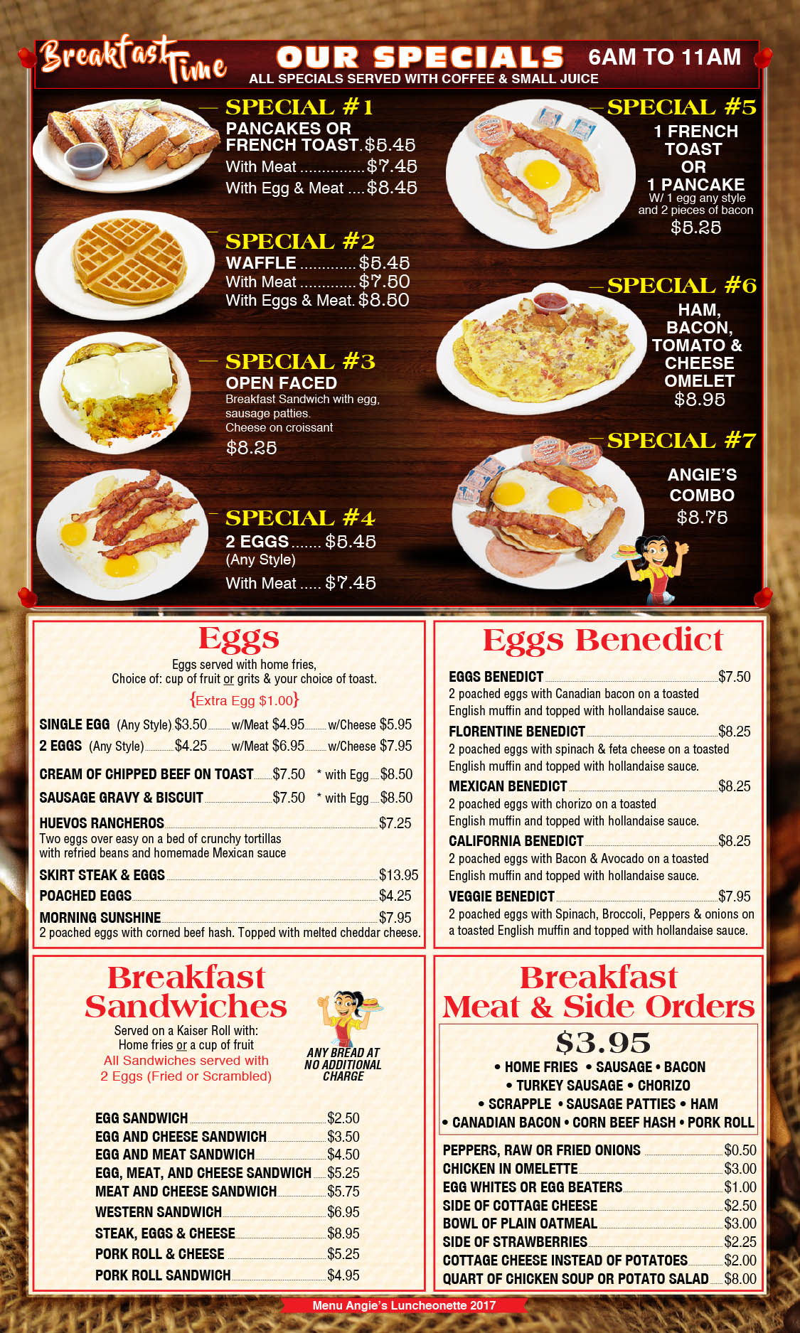 Angie's Luncheonette Menu Page 1