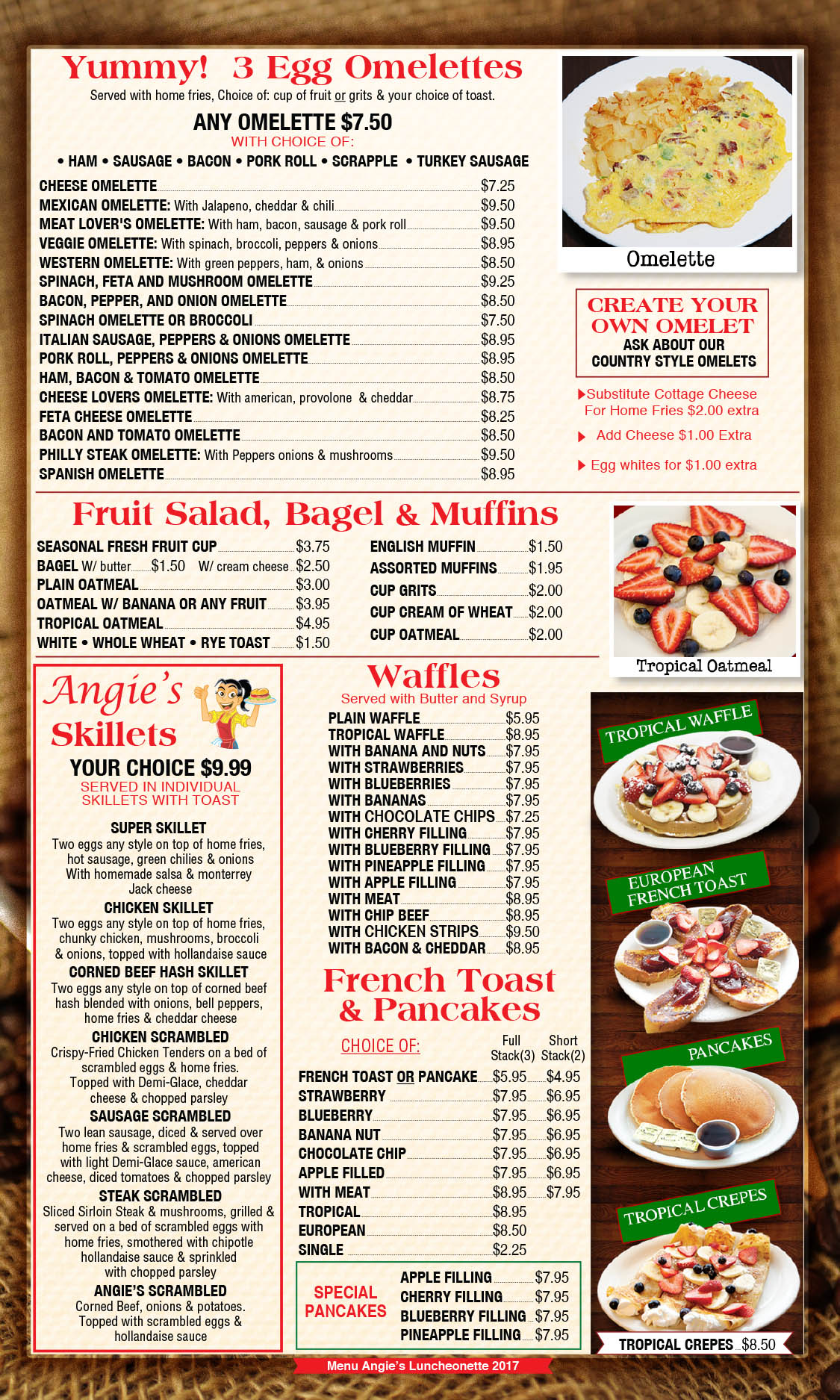 Angie's Luncheonette Menu Page 2