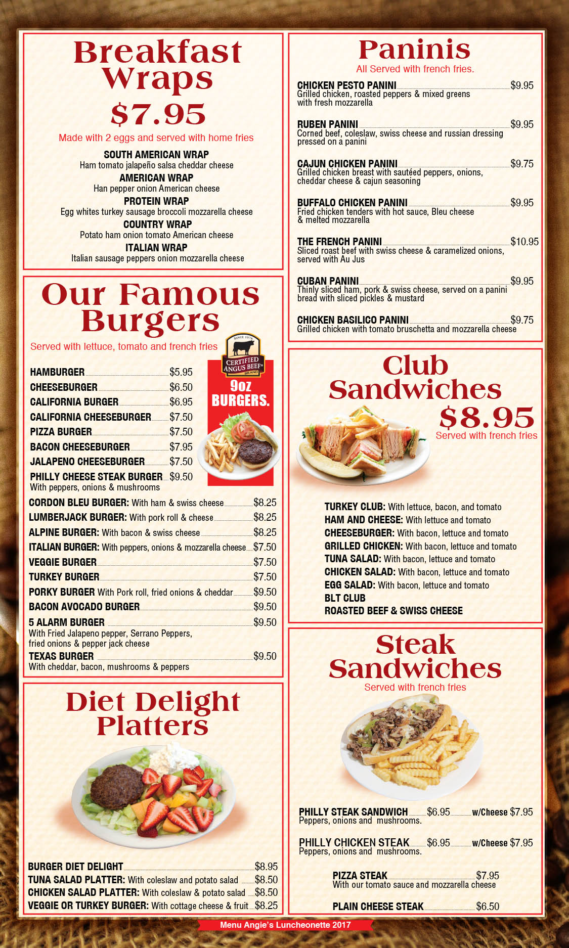 Angie's Luncheonette Menu Page 3