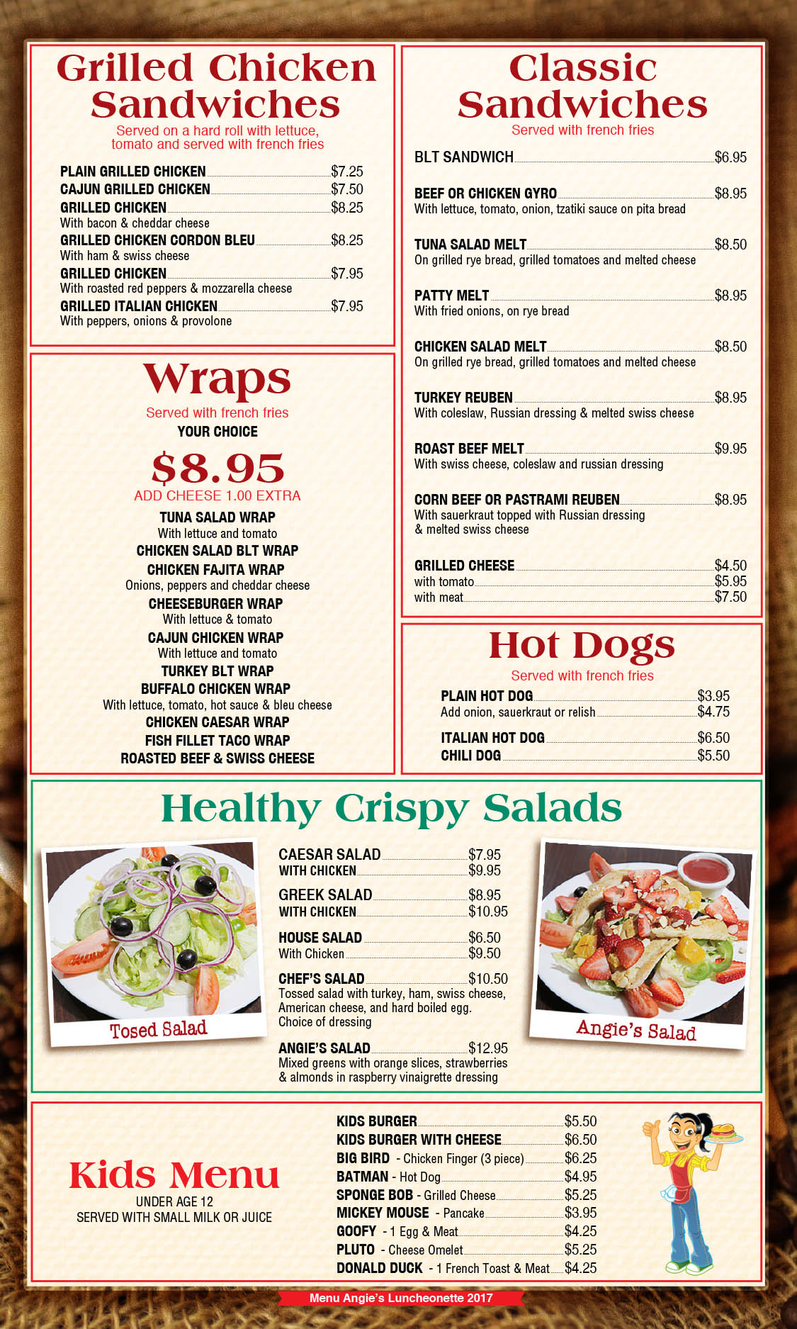 Angie's Luncheonette Menu Page 4