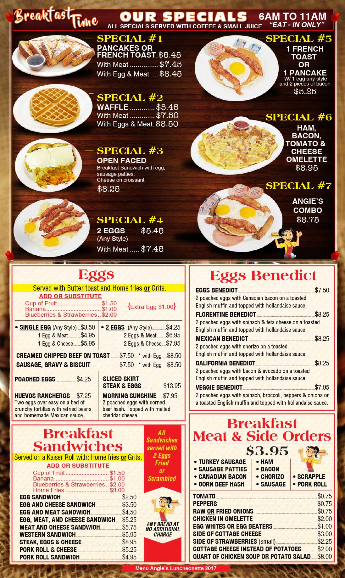 Angies Luncheonette Menu Page 1