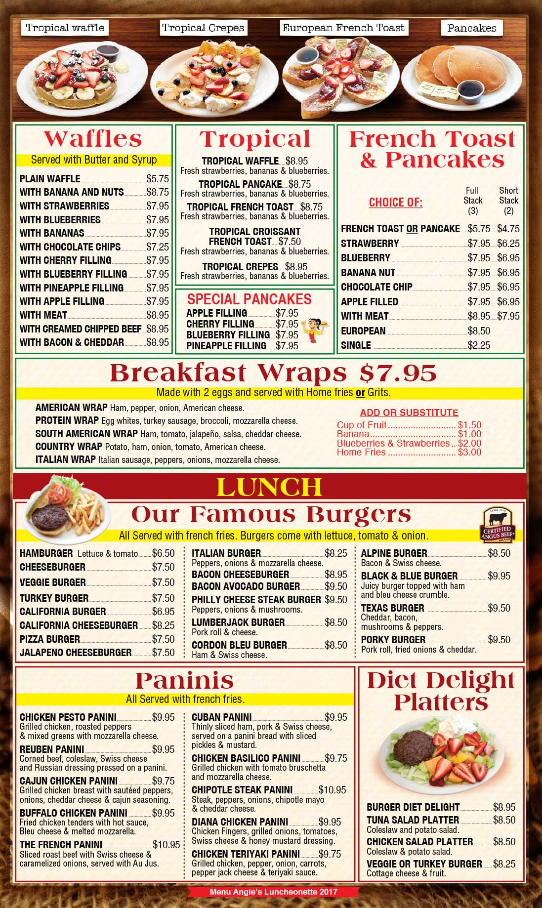 Angies Luncheonette Menu Page 3